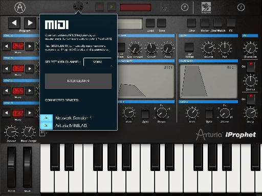 iProphet for iPad MIDI screen.