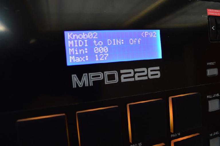 The MPD226 features a very useful backlit digital display.