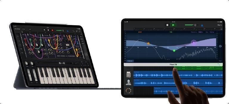 GarageBand and Moog Model 15 on iPad Pro