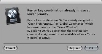 Key Command conflict alert