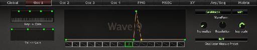 Saw wave in Wave 1 custom waveform in Wave 9.
