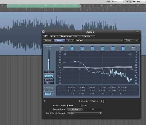 Logic's Linear Phase EQ is perfect for mastering