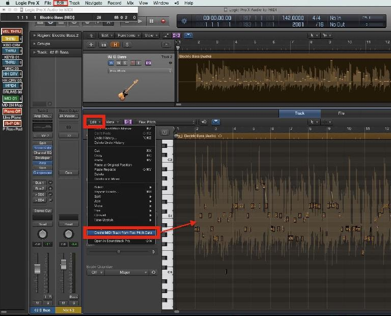 """Fig 3 The """"Create MIDI Track from Flex Pitch Data"""" command, in the Track Editor's Edit menu"""