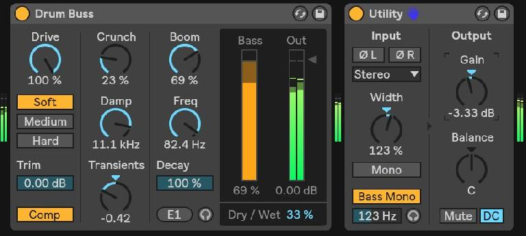 Processing drums with Drum Buss, followed by a Utility to compensate for total gain