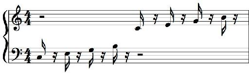 Figure 4: Bravura font, a simple adjustment to the Stem Length parameter clears space between the tips of flags and noteheads in down-stemmed notes.