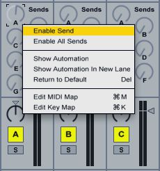 In order to allow Live to create a feedback loop by sending a Return Track signal to itself, you must first enable the Send.