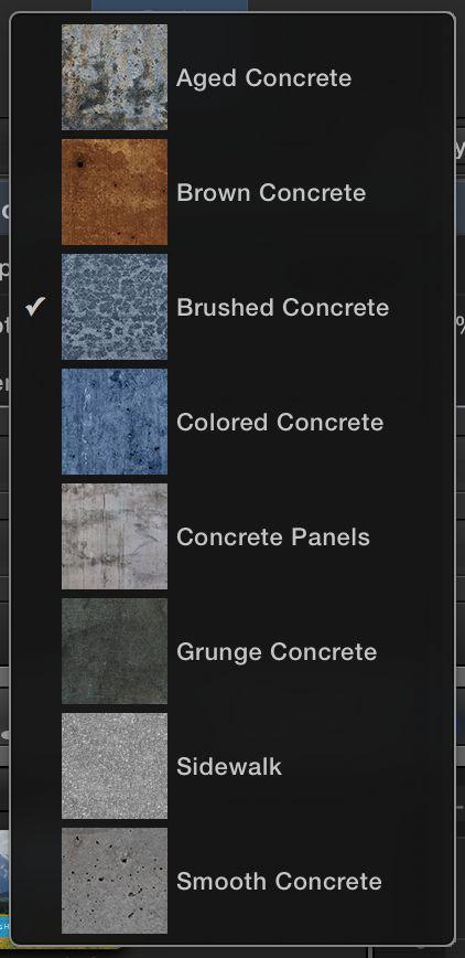 These are just the Concrete options—all the different categories offer extra options here.
