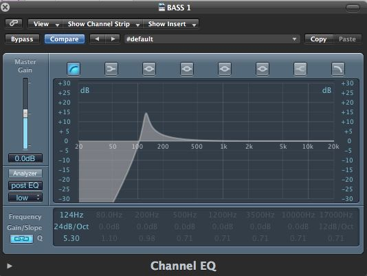 The Channel EQ Low Cut settings.
