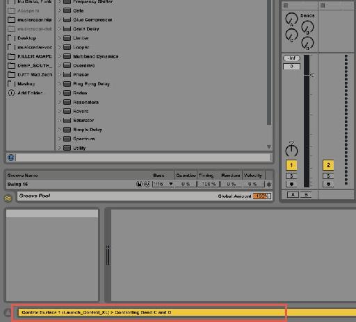 HINT: You can see what Sends and Tracks the XL currently controls through the status bar in Ableton.