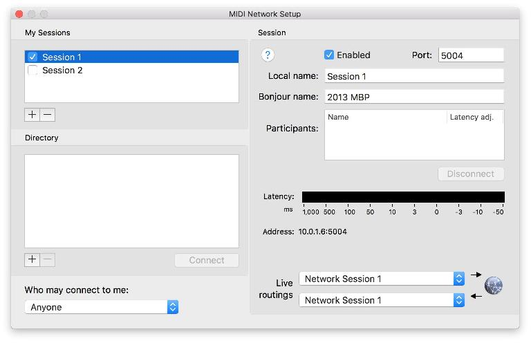 The Network MIDI built into OS X