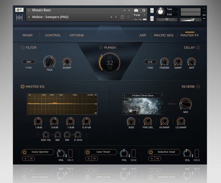 Heavyocity Mosaic Bass Master FX page