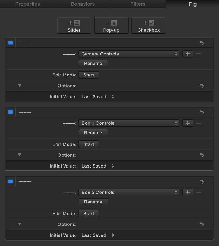 These three pop-ups have just one choice each, and are used to separate sections in the FCP X Inspector.