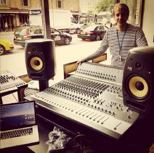 Vocalist Henrik Ljungqvist with the Audient ASP4816 desk.