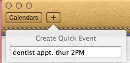 Create Quick Event pop-up