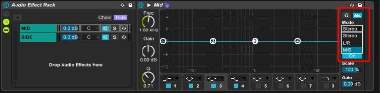 Switch EQ 8 to mid side mode
