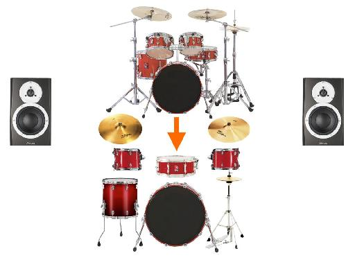 Typical Drum Panning: Kick & Snare dead center; other drums & cymbals around half-way left & right.