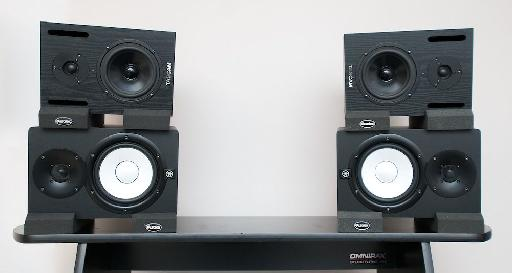 A-B testing configuration, showing Tascam VL-X5 (top) and Yamaha HS7 (bottom), separated by Auralex MoPADs.