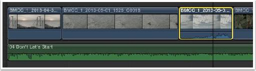 The sync between the selected clip and the audio is merely implied and is easily lost.
