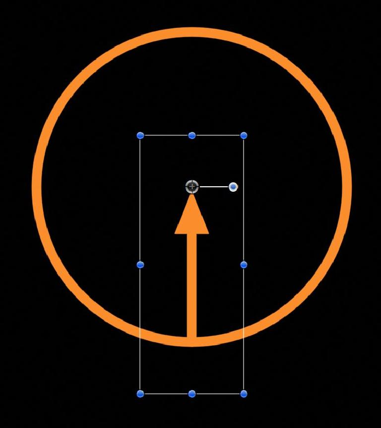 Both a circle and an arrow, targeting the same point