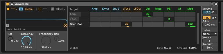 Osc 1 Wavetable Position assigned by 33 to LFO 1