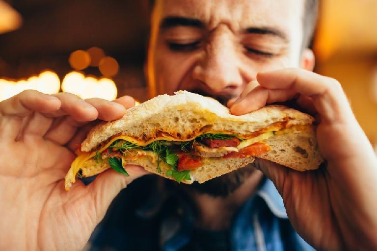 eating a sandwich