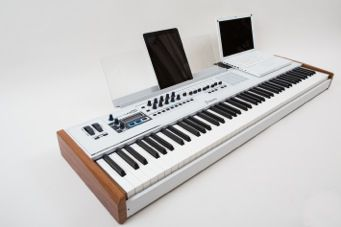 Arturia KeyLab 88 comes with a handy stand for your laptop or iPad...
