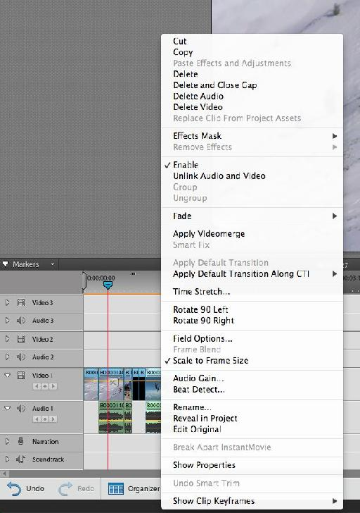 Users of Premiere CS might recognise the contextual menu as found in Elements'¦