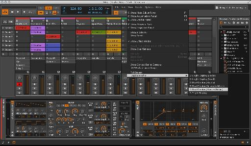 Bitwig lets you choose between different display profiles.