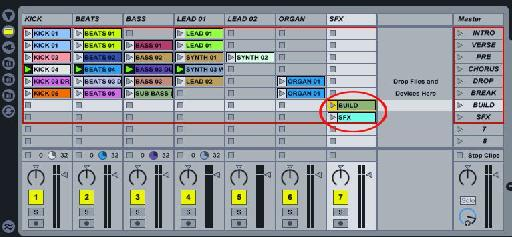 Sound effect triggers setup in Ableton.