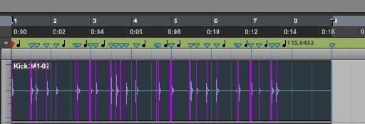 Clicking 'Generate' creates Tempo Events at each Beat Marker; the region now fits 8 bars exactly on the timing grid