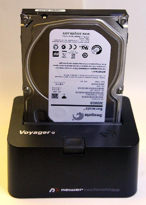Shown is the Voyager drive docking station from Newer Technology. It accommodates both 2.5 and 3.5 drive sizes with a variety of interface methods. Using the dock means that you don't have to store multiple drive enclosures and power supplies and if you need to use a raw drive in a pinch, just pop it into the dock.
