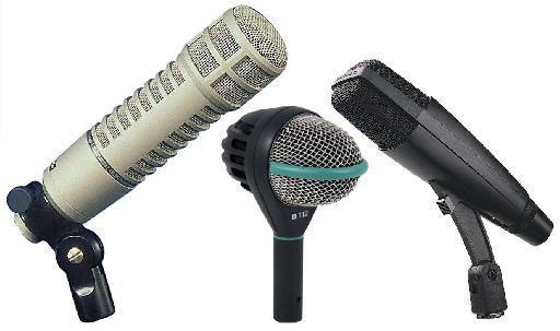 Fig 2 Some mics suitable for bass: L-to-R: Electro-Voice RE-20; AKG D112; Sennheiser 421.