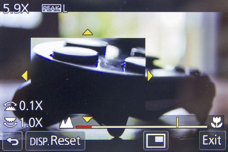 Manual focus, with a picture-in-picture display and peaking