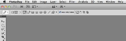 Pen tool set to Path mode in Photoshop CS5.