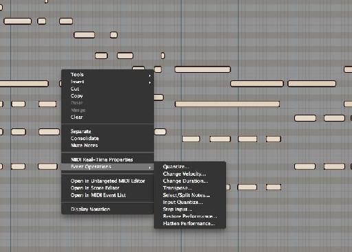 Contextual Menu in MIDI Edit Window.