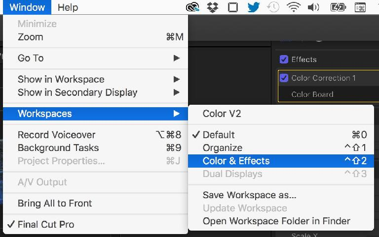 Workspaces in  FCPX 10.3