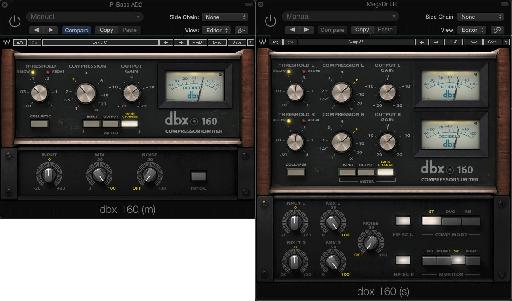 Fig 2 The Waves dbx 160 compressor plug-in.