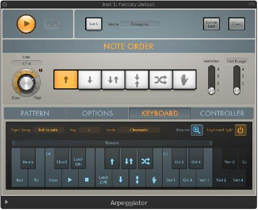 Remote control? You read that right! You can now easily control the Arpeggiator's functions with your MIDI keyboard.