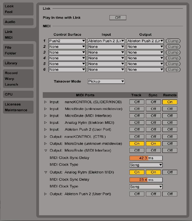MIDI preferences.