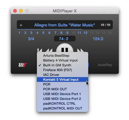 Selecting outputs in MIDIPlayer X is a click away.
