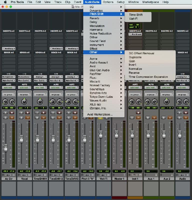 Fig 1 Pro Tools' AudioSuite-only plug-ins.
