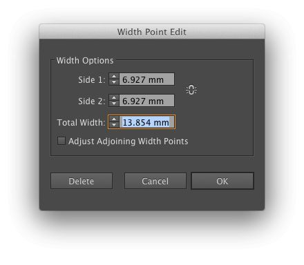 Width Point Edit dialog
