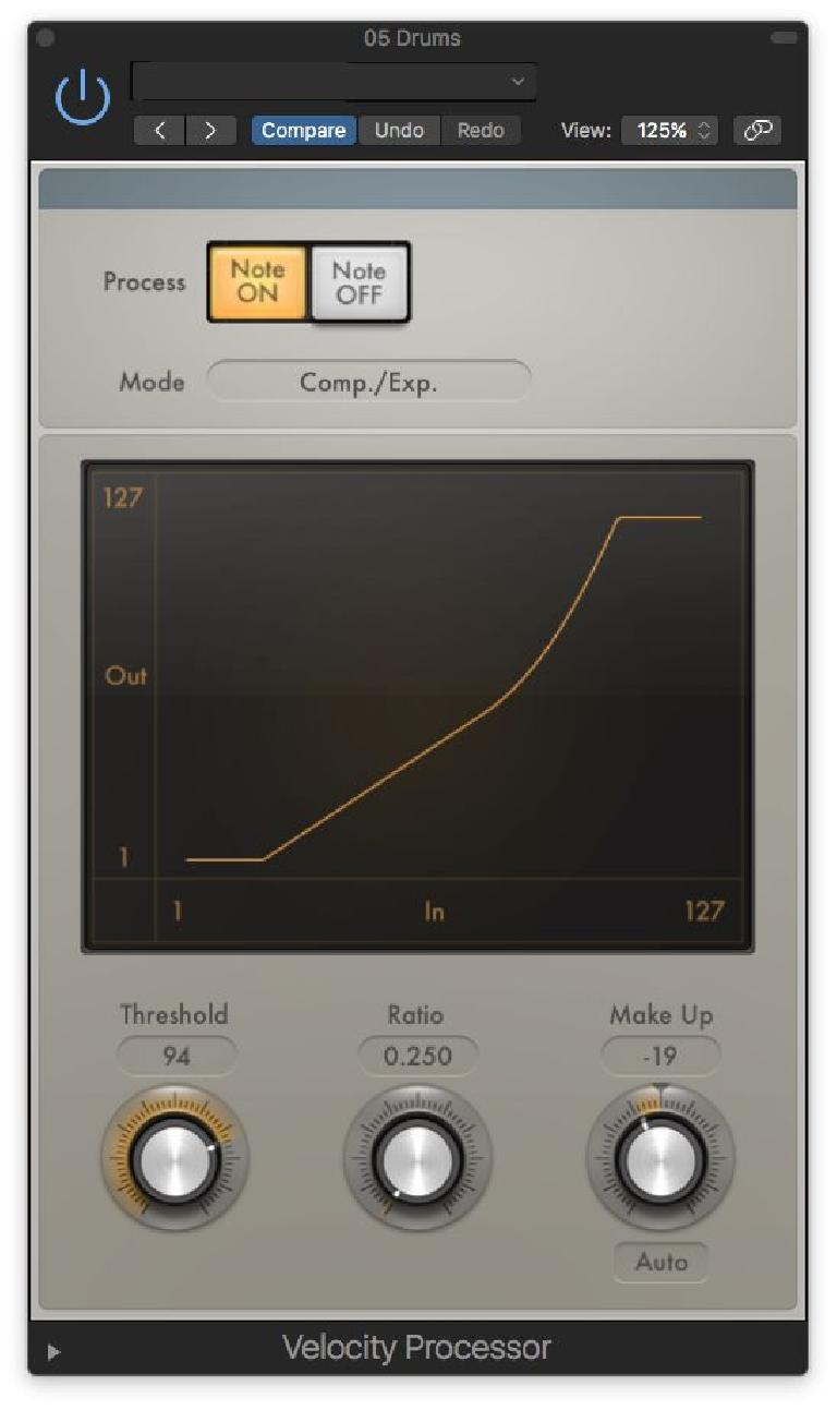 A MIDI processor for adjusting the Velocity curve (in playback)