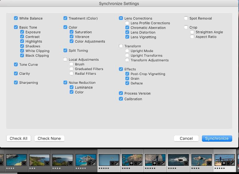 When a group of photos need the same kinds of treatment, sync them