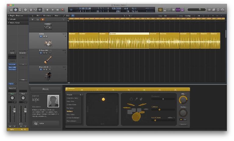 Fig 1 A Drummer track in Logic Pro X.