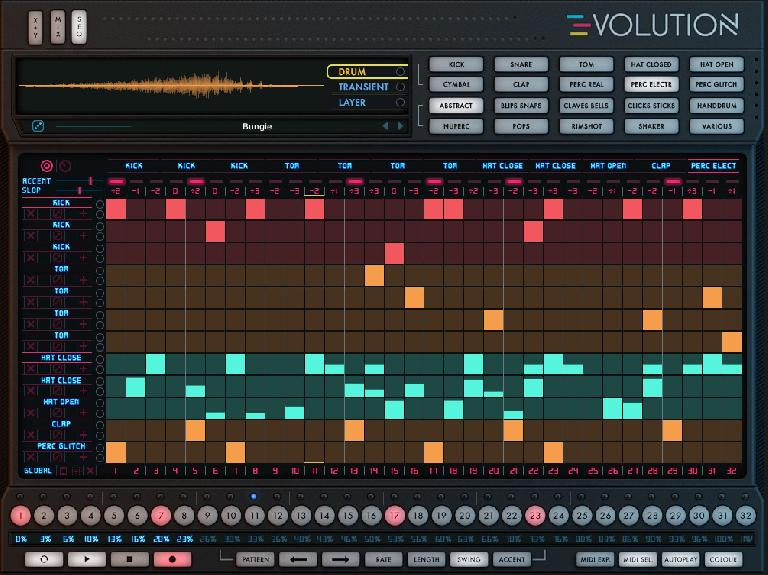 Evolution's drum sequencer area with 23% Swing and NKS-enabled colour settings.