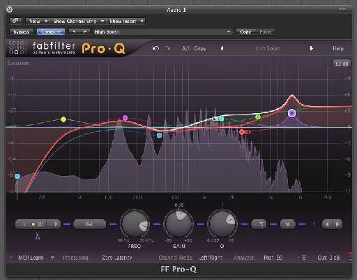 Highly complex EQ set ups can be created using the Pro Q