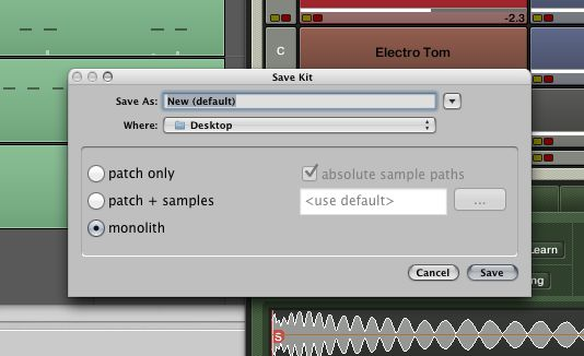 The Monolith mode bundles all used samples in one file