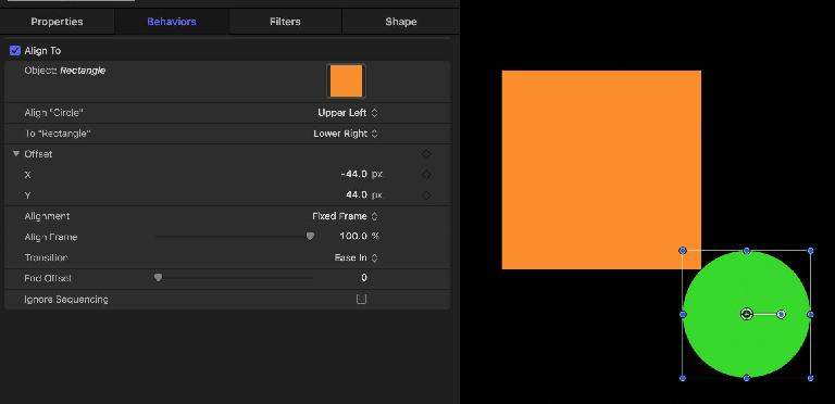 Use a custom offset if you like, and apply a transition to apply the alignment over time
