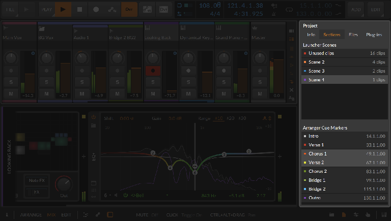 Bitwig 3.3. Project sections